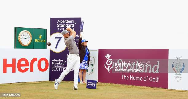 Matt Wallace of England in action during the Pro Am event prior to the start of the Aberdeen Standard Investments Scottish Open at Gullane Golf...