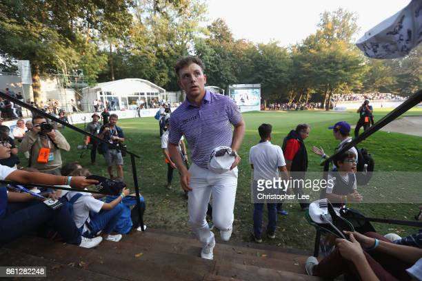 Matt Wallace of England leaves the course after he leads during Day Three of The Italian Open at Golf Club Milano Parco Reale di Monza on October 14...