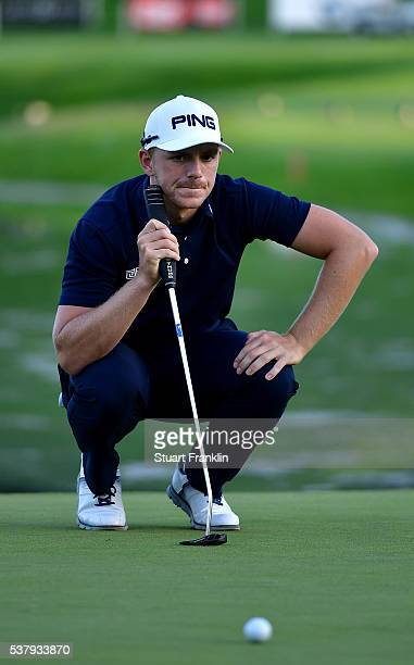 Matt Wallace of England lines up a putt during the second round on day two of the Nordea Masters at Bro Hof Slott Golf Club on June 3 2016 in...