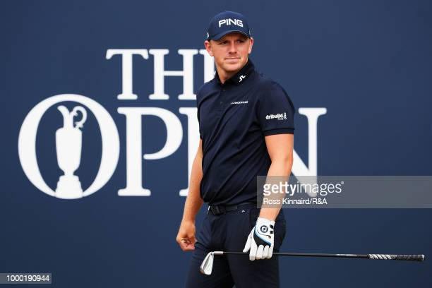 Matt Wallace of England looks down the 1st hole during previews to the 147th Open Championship at Carnoustie Golf Club on July 16 2018 in Carnoustie...