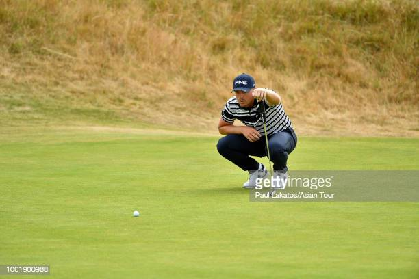 Matt Wallace of England looks on at Carnoustie Golf Club on July 19 2018 in Carnoustie Scotland