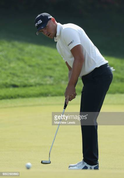 Matt Wallace of England makes a putt on the 3rd green during day four of the Hero Indian Open at Dlf Golf and Country Club on March 11 2018 in New...
