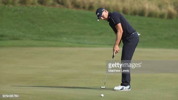 Matt Wallace of England makes a putt on the 7th green during day two of the Hero Indian Open at Dlf Golf and Country Club on March 9 2018 in New...