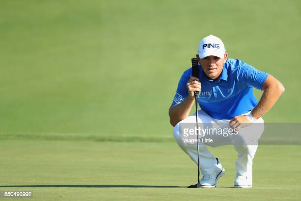 Matt Wallace of England on the 15th green during day one of the 2017 Portugal Masters at Oceanico Victoria Golf Club on September 21 2017 in...