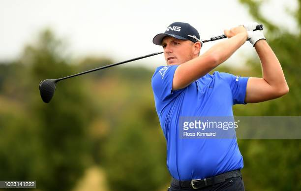 Matt Wallace of England on the 5th tee during the third round of the DD REAL Czech Masters at Albatross Golf Resort on August 25 2018 in Prague Czech...