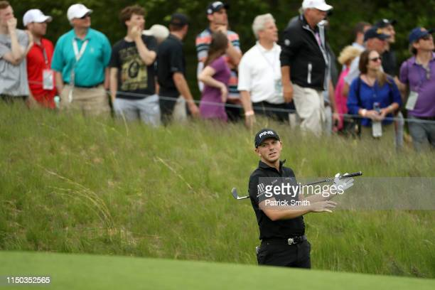 Matt Wallace of England plays a second shot on the sixth hole during the final round of the 2019 PGA Championship at the Bethpage Black course on May...
