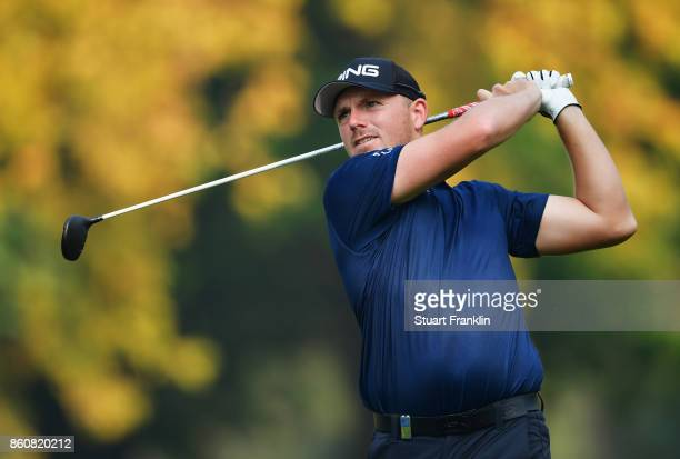 Matt Wallace of England plays a shot during day two of the Italian Open at Golf Club Milano Parco Reale di Monza on October 13 2017 in Monza Italy
