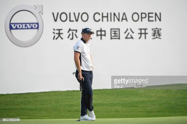 Matt Wallace of England plays a shot during the day three of the 2018 Volvo China Open at Topwin Golf and Country Club on April 28 2018 in Beijing...