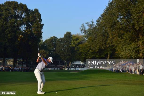 Matt Wallace of England plays a shot during the third round of the Italian Open at Golf Club Milano Parco Reale di Monza on October 14 2017 in Monza...