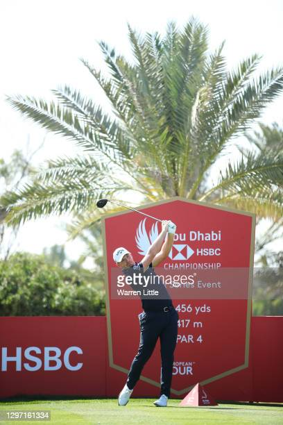 Matt Wallace of England plays a shot from the 9th tee during practice ahead of the Abu Dhabi HSBC Championship at Abu Dhabi Golf Club on January 19,...