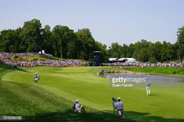Matt Wallace of England plays a shot on the 11th hole during the third round of the 2018 PGA Championship at Bellerive Country Club on August 11 2018...