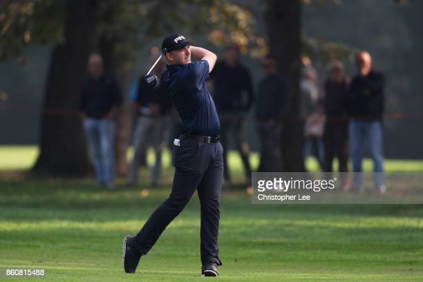 Matt Wallace of England plays a shot on the 9th hole during day two of the Italian Open at Golf Club Milano Parco Reale di Monza on October 13 2017...