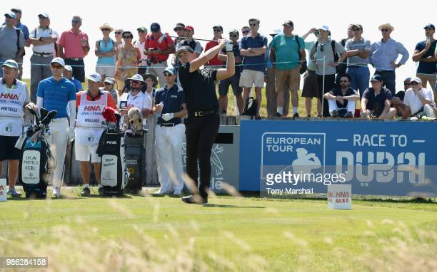 Matt Wallace of England plays his first shot on the 10th tee during Day One of the HNA Open de France at Le Golf National on June 28 2018 in Paris...