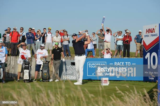 Matt Wallace of England plays his first shot on the 10th tee during Day Two of the HNA Open de France at Le Golf National on June 29 2018 in Paris...