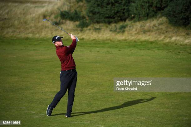 Matt Wallace of England plays his second shot on the 18th during day three of the 2017 Alfred Dunhill Championship at Kingsbarns on October 7 2017 in...