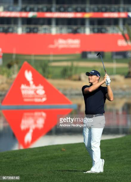Matt Wallace of England plays his second shot on the first hole during round three of the Abu Dhabi HSBC Golf Championship at Abu Dhabi Golf Club on...