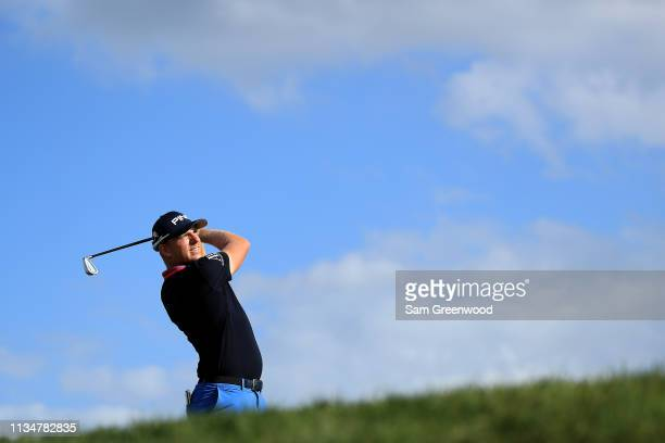Matt Wallace of England plays his shot from the 14th tee during the third round of the Arnold Palmer Invitational Presented by Mastercard at the Bay...