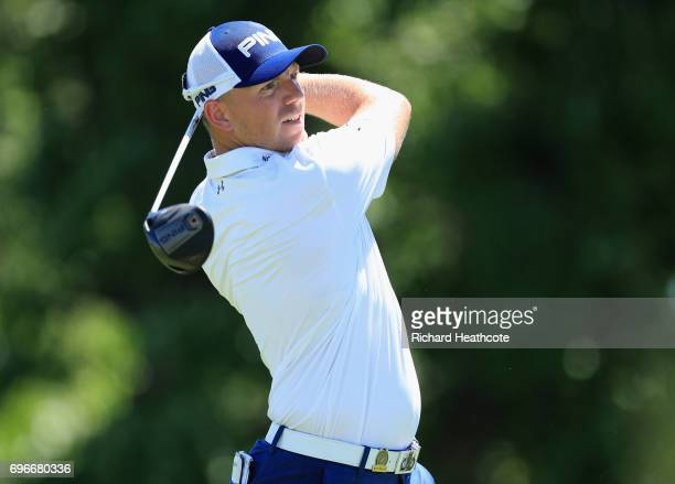Matt Wallace of England plays his shot from the fourth tee during the second round of the 2017 US Open at Erin Hills on June 16 2017 in Hartford...