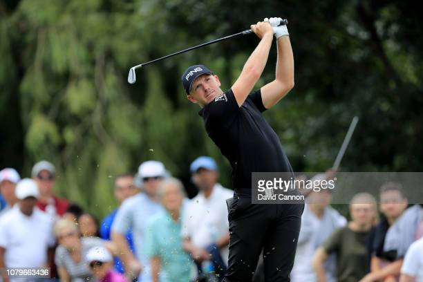 Matt Wallace of England plays his tee shot on the par 3 17th hole during the final round of the South African Open on the Firethorn Course at...