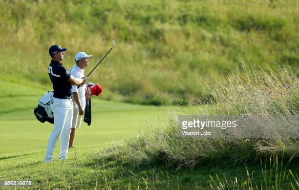 Matt Wallace of England plays his third shot on the 10th hole during the second round of the HNA Open de France at Le Golf National on June 29 2018...