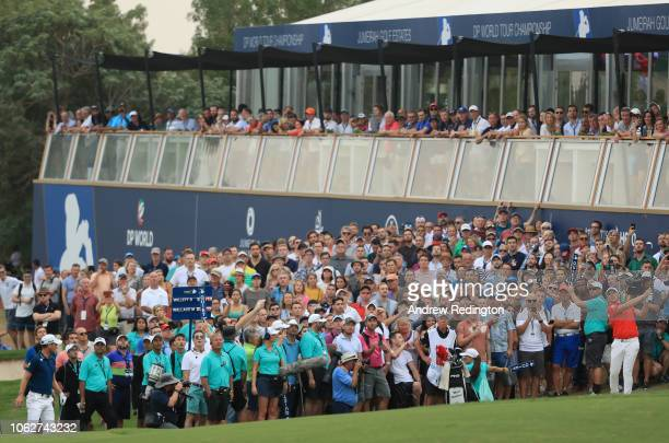 Matt Wallace of England plays his third shot on the 18th hole during the third round of the DP World Tour Championship at Jumeirah Golf Estates on...