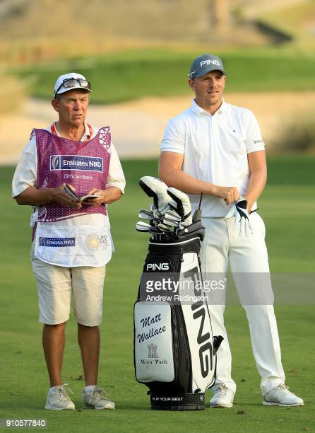 Matt Wallace of England prepares to play his second shot on the 16th hole during round two of the Omega Dubai Desert Classic at Emirates Golf Club on...