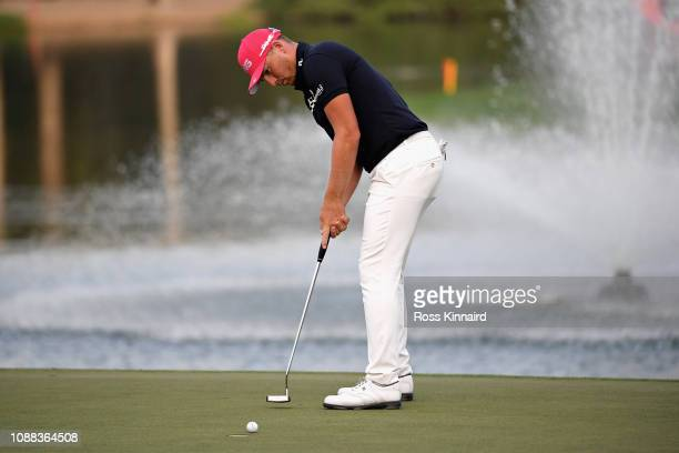 Matt Wallace of England putts on hole eighteen during Day Two of the Omega Dubai Desert Classic at Emirates Golf Club on January 25 2019 in Dubai...
