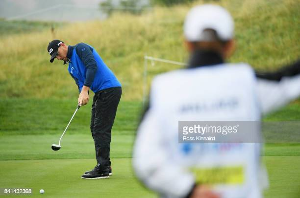 Matt Wallace of England putts on the 12th green during day two of the DD REAL Czech Masters at Albatross Golf Resort on September 1 2017 in Prague...