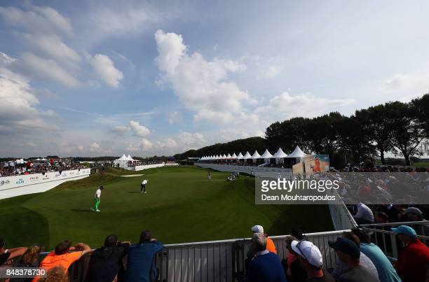 Matt Wallace of England putts on the 14th hole during Day Four of the KLM Open at The Dutch on September 17 2017 in Spijk Netherlands