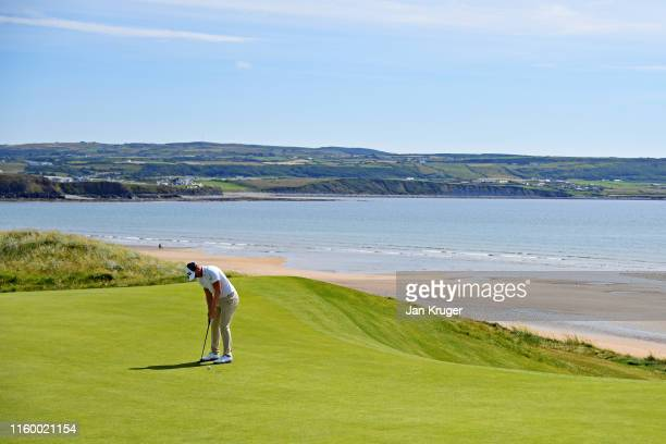 Matt Wallace of England putts on the seventh hole during Day One of the Dubai Duty Free Irish Open at Lahinch Golf Club on July 04 2019 in Lahinch...