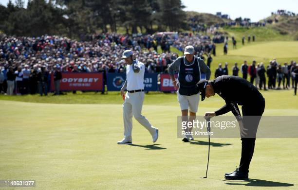 Matt Wallace of England reacts after his putt on the 18th green during the final round of the Betfred British Masters at Hillside Golf Club on May 12...