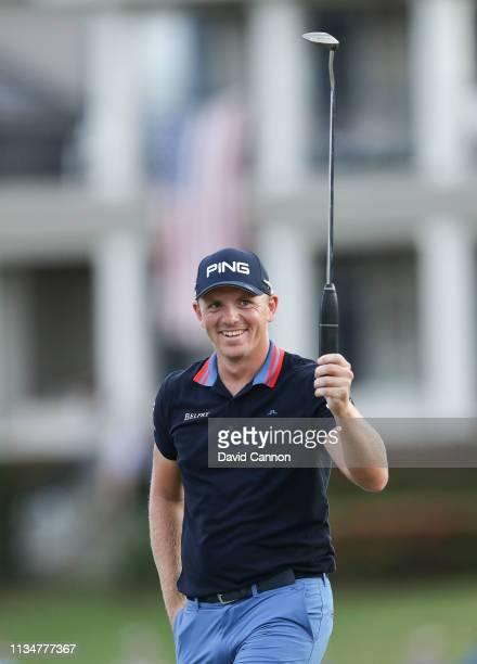 Matt Wallace of England reacts after holing a putt for par on the par 3 17th hole during the third round of the 2019 Arnold Palmer Invitational...