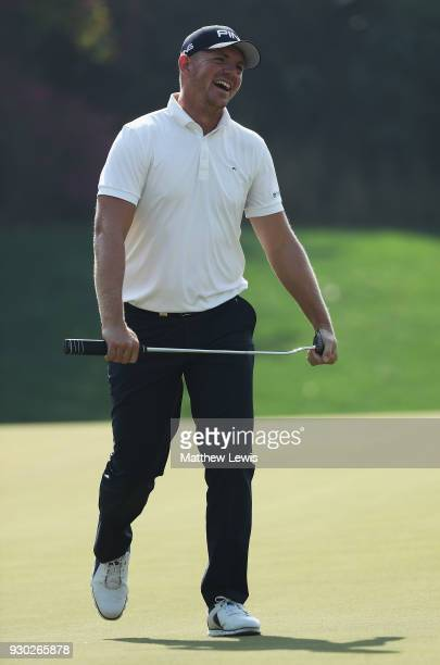 Matt Wallace of England reacts after nearly making a putt on the 3rd green during day four of the Hero Indian Open at Dlf Golf and Country Club on...