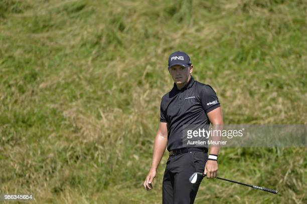 Matt Wallace of England reacts during day one of the HNA Open de France at Le Golf National on June 28 2018 in Paris France