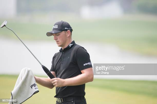 Matt wallace of England reacts on during the four day of the 2018 Volvo China open at Beijing Huairou Topwin Golf and Country Club on April 29 2018...