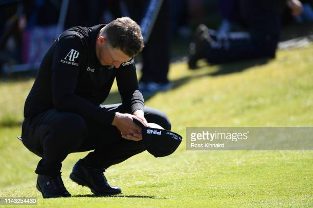Matt Wallace of England reacts on the 18th green during day four of the Betfred British Masters at Hillside Golf Club on May 12 2019 in Southport...