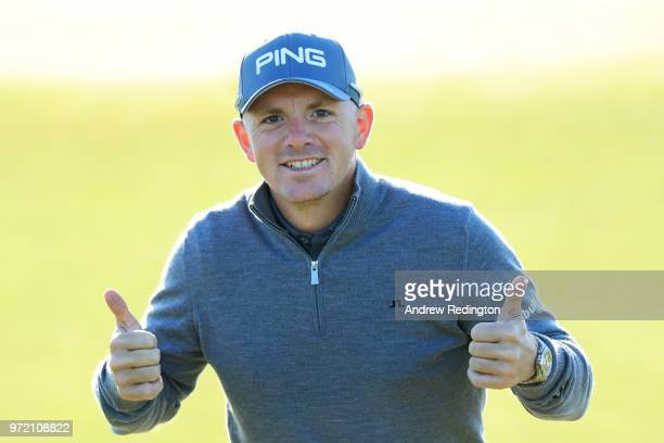 Matt Wallace of England reacts on the range during a practice round prior to the 2018 US Open at Shinnecock Hills Golf Club on June 12 2018 in...