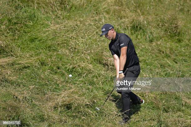Matt Wallace of England swings during day one of the HNA Open de France at Le Golf National on June 28 2018 in Paris France