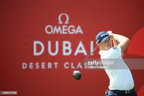 Matt Wallace of England takes his tee shot on hole two during Day Three of the Omega Dubai Desert Classic at Emirates Golf Club on January 26 2019 in...