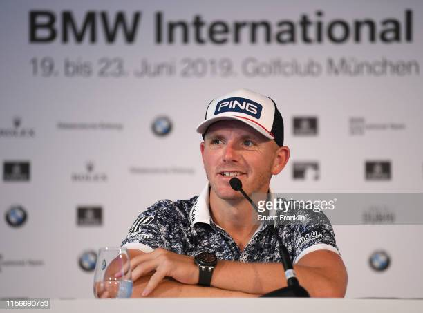 Matt Wallace of England talks to the media during his press conference ahead of the BMW International Open at Golfclub Munchen Eichenried on June 18...