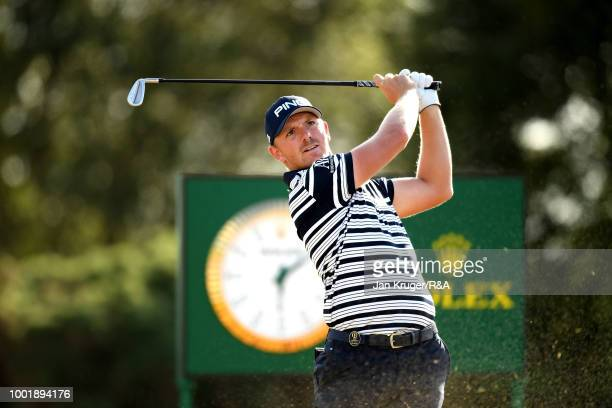 Matt Wallace of England tees off at the 13th hole during round one of the 147th Open Championship at Carnoustie Golf Club on July 19 2018 in...