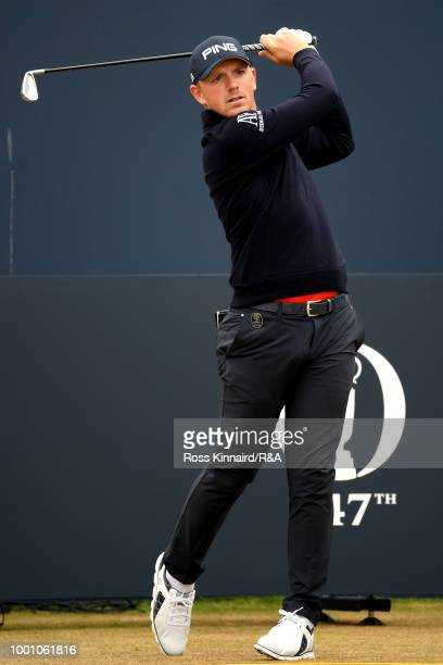 Matt Wallace of England tees off at the 1st hole during previews to the 147th Open Championship at Carnoustie Golf Club on July 18 2018 in Carnoustie...