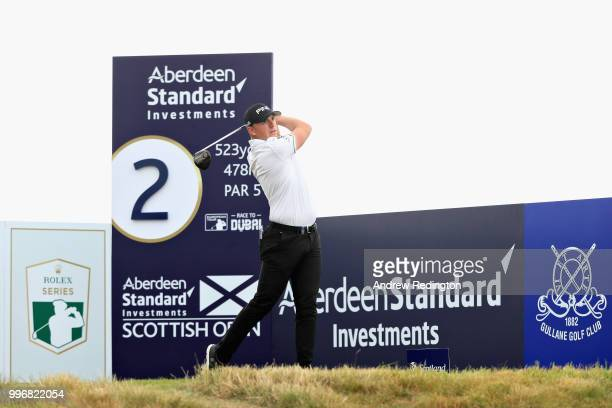 Matt Wallace of England tees off on hole two during day one of the Aberdeen Standard Investments Scottish Open at Gullane Golf Course on July 12 2018...