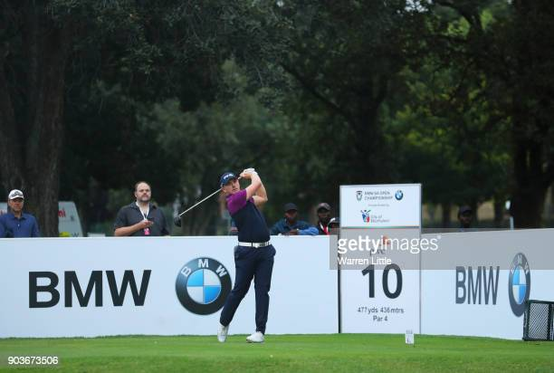 Matt Wallace of England tees off on the 10th hole during Day One of The BMW South African Open Championship at Glendower Golf Club on January 11 2018...