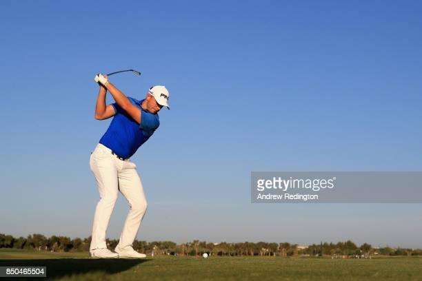Matt Wallace of England tees off on the 11th during day one of the 2017 Portugal Masters at Dom Pedro Victoria Golf Club on September 21 2017 in...