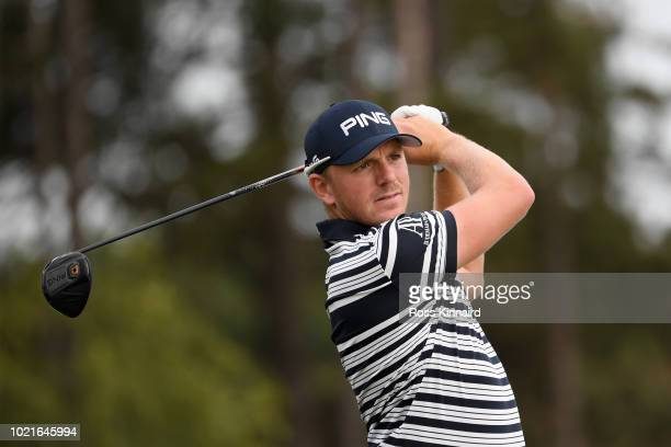 Matt Wallace of England tees off on the 12th hole during Day One of DD REAL Czech Masters at Albatross Golf Resort on August 23 2018 in Prague Czech...