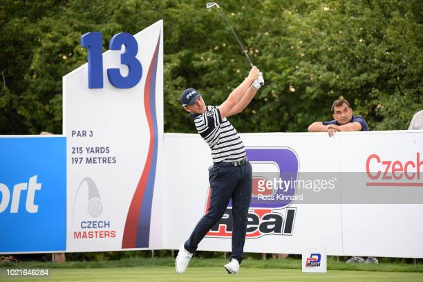 Matt Wallace of England tees off on the 13th hole during Day One of DD REAL Czech Masters at Albatross Golf Resort on August 23 2018 in Prague Czech...