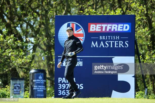 Matt Wallace of England tees off on the 3rd hole during day four of the Betfred British Masters at Hillside Golf Club on May 12 2019 in Southport...