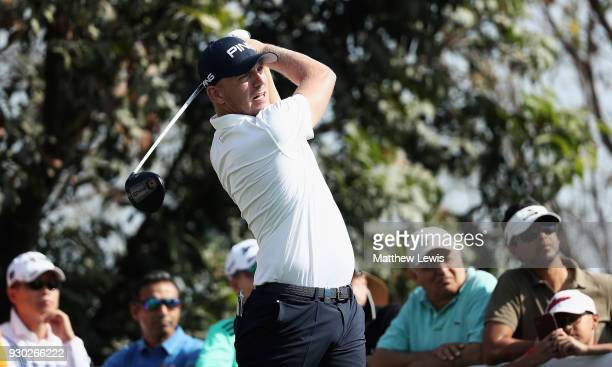 Matt Wallace of England tees off on the 4th hole during day four of the Hero Indian Open at Dlf Golf and Country Club on March 11 2018 in New Delhi...