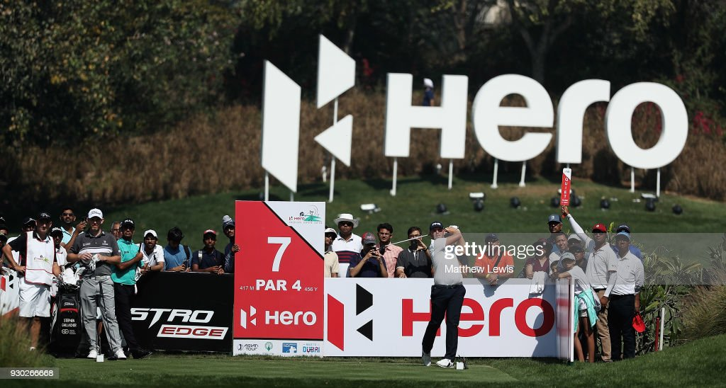 Matt Wallace of England tees off on the 7th hole during day four of the Hero Indian Open at Dlf Golf and Country Club on March 11, 2018 in New Delhi, India.